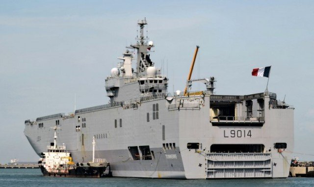French navy vessel LHD Tonnerre is seen berthed at Singapore