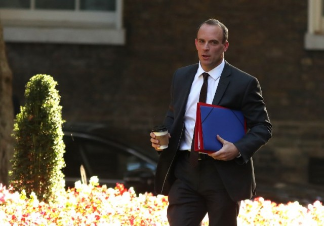 Brexit Minister Dominic Raab arrives at 10 Downing Street in central London for a cabinet meeting to discuss